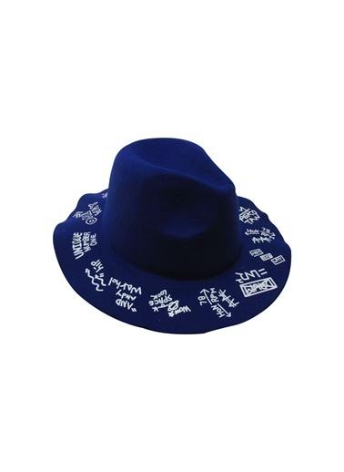 Laslusa İçten Ayarlanabilir Üstü Yazılı Keçe Fötr Şapka Saks